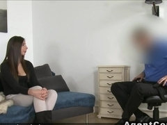 Costumed fake agent fucks sexy brunette