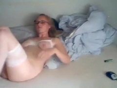 Nerdy glassed blonde girl with panties and sex bra gets her trimmed pussy eaten out, masturbates a.