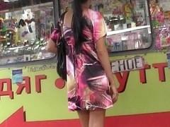 Colorful summer costume upskirt