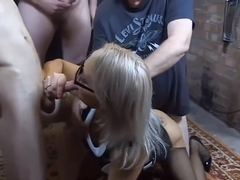 Tara Spades is ready to take two hard cocks in her mouth, at the same time