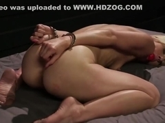 Bound blonde lesbian gets spanked