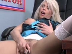 Business ladies Brooke and Holly eating cunts