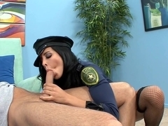 Uniformed babe sex in fishnet stockings and high heels