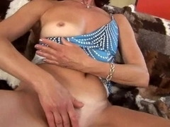 Hot grandma finger copulates her shaggy muff
