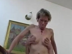 Horny granny uses a young boy's cock for her pleasure