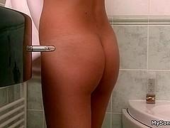 Granpa fucks brunette hottie after shower