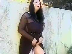 Busty Goth brunette with big butt is seen fucking