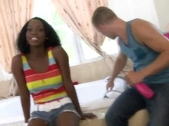 Sweet interracial relaxation in the bathroom with ebony Kim