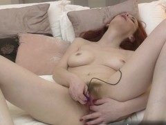 See her butt pulse with joy when her bushy muff cums