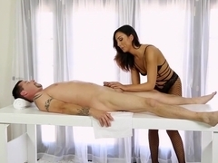 Horny masseuse riding her client