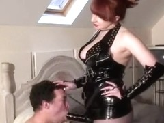 Aged Female-Dominator Red slams her slaves anus