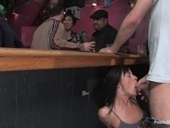 Cecilia Vega is bound fucked and used by a bar full of strangers