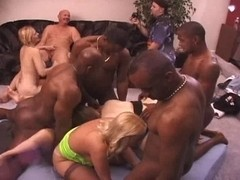 Messy Old Strumpets Acquire Savaged At An Interracial Fuck Party!!