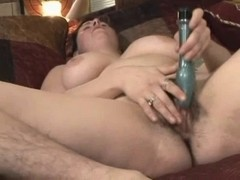 Obese Fat Ex GF with bushy legs and Cookie masturbating.