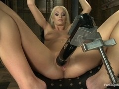 Southern Blonde Babe Straddles Machines and Cums like a bucking Filly
