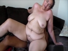 Black chubby chaser fucks a white BBW hard in the pussy