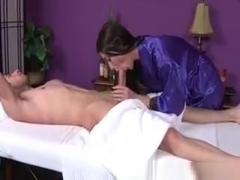 Hungry Masseuse Sucking On Dick For Her Lucky Client