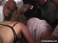 Great gang bang party with two horny sluts