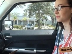 Nerdy brunette teen girl Tali Dava fucked in the backseat