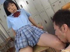 School babe Aye Seto gets lots of cum on face