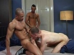 Hot gay group sex with one dude being gangbanged