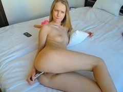 Cute blonde enjoys a dildo up her butthole