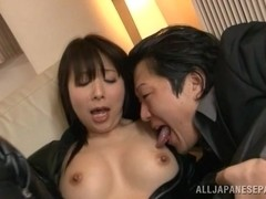 Kimika Ichijou nasty Asian chick in three way fucking