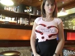 Massiver boobs resto waitress pussy railed for money