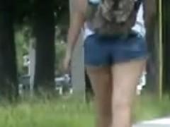 Jiggly  ass in short Jean shorts
