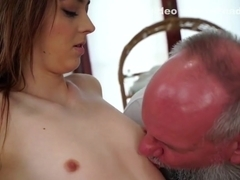 Teen oiled by grandpa masseur gets licked