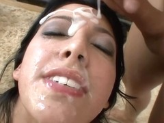 Kimberly Gates is getting fresh cum all over her face, after sucking many dicks in a row