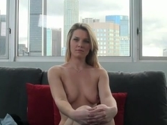 Adorable blonde Sierra shows her goods during an interview