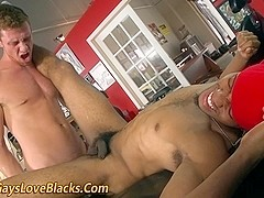 Black thug gets ass cumshot