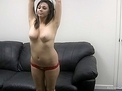 Busty gal gets my jizz in her mouth