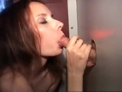 Redhead college babe puts her lips and hands to work on mystery dicks