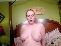 Beauty jerks guy's wang in big naturals porn
