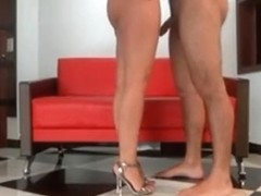 Masked latina with fantastic ass rides her bf on the sofa, until creampie.