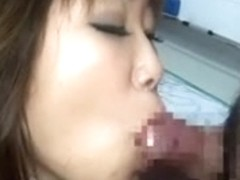 Wonderful japanese hotty with lengthy tongue sucks and collect cum