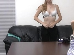 Blonde cutie facialized by a fake casting agent