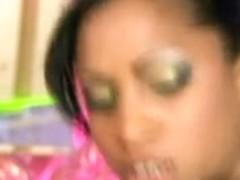 Ebony pornstar Katia crammed in all holes