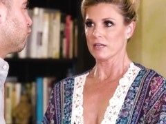 Experienced blonde woman with tanlines, India Summer likes giving free sex lessons to younger guys