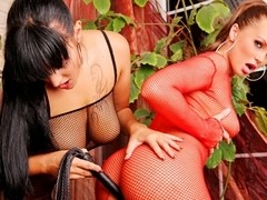 Silvia and Carmen in Fishnet Bodysuit, Scene #01