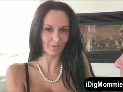 Teen shared hard cock with busty stepmom on the couch