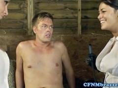 CFNM femdoms cockriding in threeway