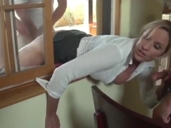Horny Busty MILF Stuck in Window and Used By Two Strangers