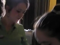 2 girlfriends sucking 1 dick