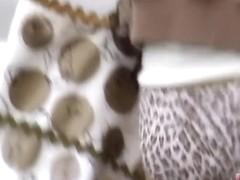 Asian cougar has cute tiger panties for the skirt sharker