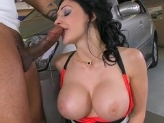 Stunning Aletta Ocean plays with a black cock in her slimy warm mouth
