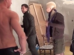 Adorable blonde Dulsineya seduces couple hot studs