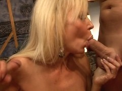 Blonde milf's twat is licked well by her horny lover